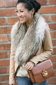 Top :: Zara jacket, Equipment sweater, Bottom :: J Brand, Bag :: vintage Celine, Shoes :: Classiques Entier, Accessories :: H faux fur collar, Deborah Lippmann 'My Old Flame' polish, ring thanks to Edge of Ember!