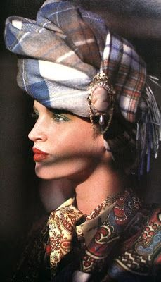 Wrapped turban, cameo jewelry by Adrien Mann, Vogue UK August 1984