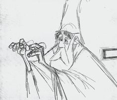 Disney, The Sword in the Stone (1963) - Merlin, drawn by Milt Kahl (his angular sketching style was inspired by Ronald Searle).  Model Sheets & Production Drawings.  Cartoons, animation