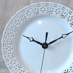 71/2 Inch Wall Clock Small Lacy White Porcelain by makingtimetc, $32.00