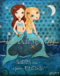 Mermaid Art -Children Decor-  Mixed Media Art- Sisters Art Print- 8x10 and 5x7