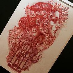 Regardez cette photo Instagram de @lynnakura • 2,040 J'aime #illustration #woman #woman #girl #neotraditionel#neotraditional #neo traditionel #draw #drawing #tattoo#ink #tattooed #inked