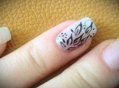 Gel + nail art with acrylic paint