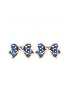bling, dot bow, polka dots, cloth, accessori, blue bow, bows, bow earrings, blues