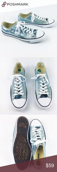 78176b8bbbda3 MAKEANOFFER🔥CONVERSE METALLIC LIGHT BLUE SNEAKERS Beautiful Converse light  blue metallic sneakers in size 12. Brand new with tags absolutely flawless!  ALL ...
