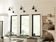 Urban Grace Interiors with Sconces by Visual Comfort House Design, New Homes, House, Interior, Kitchen Design, Shiplap Fireplace, Black Window Frames, Exposed Brick, Home Decor