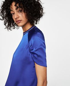 Image 4 of SATIN TOP WITH RIBBED COLLAR from Zara