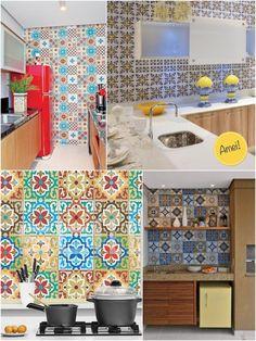"""Em paredes de cozinha e varandas gourmet fica o máximo né?! Na verdade é onde eu mais gosto de aplicar. Estou """"in love"""" com esse azul e amarelo da foto acima!"""