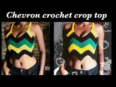 The crochet chevron pattern top is an easy beginner friendly project and it is made of only single crochet, chain and slip stitch Crochet Summer Tops, Crochet Halter Tops, Crochet Crop Top, Crochet Bikini, Crochet Boots, Crochet Poncho, Crochet Clothes, Chevron Crochet, Diy Crochet