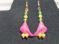 Calla Lilly earrings in pink with green swarovski crystals and goldtone accents.