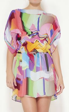 Basso & Brooke Pink, Lime, Purple And Multicolor Dress