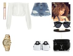 """""""See the flames inside my eyes, it burns so bright I wanna feel your love, no; Easy baby, maybe I'm a liar before tonight I wanna fall in love, put your faith in my stomach. #548"""" by stay-strong-18 ❤ liked on Polyvore featuring Elizabeth and James, River Island, Rebecca Minkoff, Le Specs, adidas and Michael Kors"""