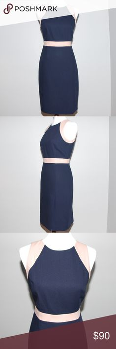 """J. Crew Gwen Dress Navy Italian wool crepe, this slim sheath has a nipped waist and strategically placed princess seems to make it flattering on any figure. Transitions from desk to dinner easily.  Features include: bra keeps, back zip, lined, dry clean, import, fitted silhouette. 38"""" from high point of shoulder. J. Crew Jackets & Coats Trench Coats"""
