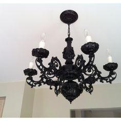 DIY black chandalier revamped with black spray paint @Rebecca Livaich kinda like this!