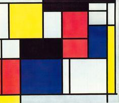 dit is een schilderij van mondriaan waarbij je alleen de typerende kleuren rood, geel, blauw, zwart en wit ziet. elk vak springt er evenveel uit. het heeft door de combinatie van felle en rustige kleuren een mooie balans.