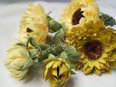 Bridal bouquet,wedding bouquet,paper flower,wedding flower sunflowers,bridal flower,paper flower sunflowers. by Mazziflowers on Etsy https://www.etsy.com/listing/197969543/bridal-bouquetwedding-bouquetpaper