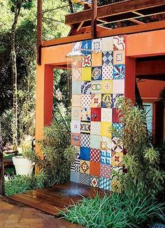 Tiled outdoor shower