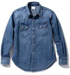 JOE McCOY DENIM WESTERN SHIRT / WASHED – The Real McCoy's Western Shirts, Western Wear, Denim Button Up, Button Up Shirts, Denim Fabric, Shirt Style, Westerns, Indigo, How To Wear