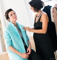 Yasmin Sewell, blue coat, black dress / Garance Doré