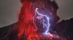 Volcanic lightning via Japan's Sakurajima volcano.