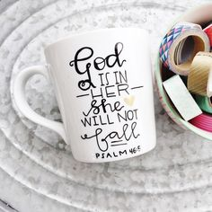 God Is Within Her Hand Painted Mug Christian Coffee Mug God Is Within... ($17) ❤ liked on Polyvore featuring home, kitchen  dining, drinkware, drink  barware, home  living, mugs, silver, white mugs, painted mugs and handmade coffee mugs