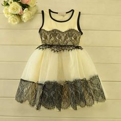 Clothes Girls party Dress 2-7 Years toddler girls high quality lace vest dress Girl Dresses