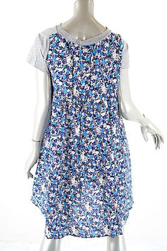 3ceb11aafd1 Grey with Blue Luck Purple   Contrast Floral Print T-shirt Casual Dress
