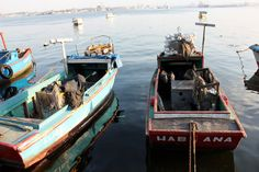 Red and Turquoise Havana Fishing Boats in by BluebellandtheFox