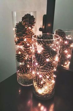 Ideas Diy Wedding Centerpieces Dollar Store Vase For 2019 Diy Christmas Decorations, Pine Cone Decorations, Diy Wedding Decorations, Christmas Lights, Wedding Centerpieces, Christmas Crafts, Christmas Ornaments, Christmas Christmas, Centerpiece Ideas