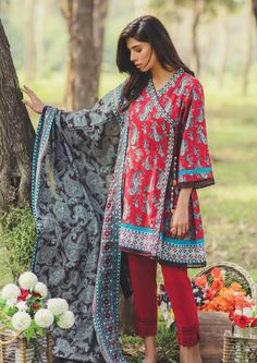 2 Piece Splendor collection Printed Lawn SS-127-17-Maroon | PKR 1,750
