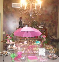 April Showers Bring May Flowers  Baby Shower/Sip & See - Rain & Umbrella Baby Shower {Pink & Green}