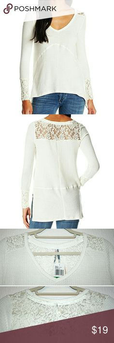 High-Low Thermal w/ Lace Back & Cuffs NWT This antique white waffle thermal is so soft & comfy! I love the beautiful lace inset on the back yoke &  lace cuffs! The front features a sharkbite hemline, and it is longer in the back for an overall high-low hemline - perfect w/ leggings! It also has side slits and fab stitching detail accentuating the drape in the front and contrasting straight-lined back. The soft fabric is 68% polyester, 29% rayon, & 3% spandex. Runs small, so listed as…