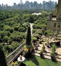 A patio's west side view over Central Park, New York City's backyard.