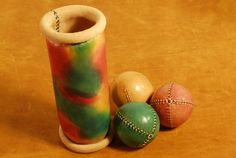 Set of 3 leather juggling balls and case by EmCouros on Etsy