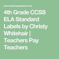 4th Grade CCSS ELA Standard Labels by Christy Whitehair | Teachers Pay Teachers