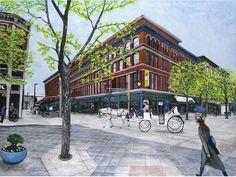"Portfolio Review 48"" X 36"" X 1.7"" Original Acrylic Cityscape Painting by Konnie Laumer Street Mall, Street View, Portfolio Review, Copper Paint, Cityscapes, Colorado, California, Urban, The Originals"