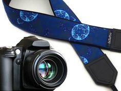 Turtles camera strap. Blue and white stylized SLR camera strap. Shoulder camera…
