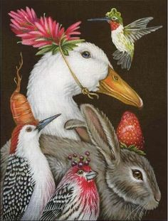 """A Few Good Friends painted canvas by Melissa Shirley Designs, Artwork by Vicki Sawyer Size: 9"""" x 12"""" Mesh Count: 18"""