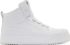 3.1 Phillip Lim White Buffed Matte Leather High-Top Sneakers