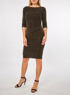 a649a206b3 Billie   Blossom Black and Gold 3 4 Sleeve Bodycon Dress - Midi Dresses -  Dresses