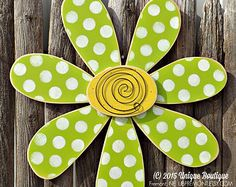 BIG 22 inch wood Daisy FLOWER spring LIME green Polka Dot Door Hanger Decor Hanging Garden art wooden sign crafts christmas crafts diy crafts hobbies crafts ideas crafts to sell crafts wooden signs Wooden Door Signs, Wooden Door Hangers, Wooden Crafts, Diy Crafts, Decoration Shabby, Decorations, Daisy Art, Woodworking Jigsaw, Woodworking Crafts