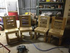 Chairs made from old pallets (table to be built yet, need more pallets)