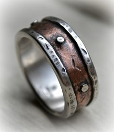 mens rustic wedding ring rustic fine silver and by MaggiDesigns, $305.00
