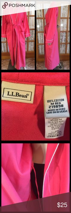 """L.L.Bean Coral Soft Flannel Oversized M 52"""" Bust 50"""" Bust. Length is 53 1/2"""". Sleeves are 21 1/2"""". Inside tie. It has a nice long belt. 2 deep pockets. New without tags. Non smoking home and is excellent condition. L.L. Bean Intimates & Sleepwear Robes"""