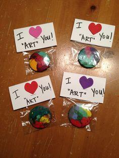 Emerson's kindergarten Valentines - homemade crayons!