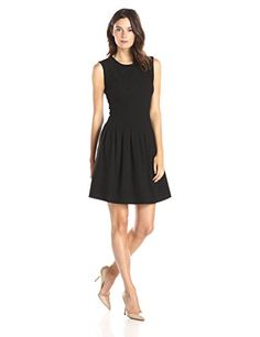 Lark  Ro Womens Soft Pleated Fit and Flare Dress Black 6 >>> You can find more details by visiting the image link.