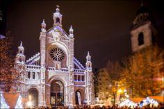 Belgium, Brussels - Plaisirs d'Hiver - Winterplezier -- Christmas Market Winter Wonders 2014. Light-show on Church St. Cathelijne Plein - Place St Catherine. © Eric Danhier #face