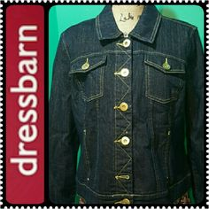 Dressbarn Jeans Jacket Dressbarn Signature Basics, Metallic Gold Style Accent!  Front Buttons, Chest Pockets, Mint Condition to Almost Like New! Perfect for Layering, a Must Have Staple! Dress Barn Jackets & Coats Jean Jackets