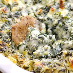Clean Eating Baked Spinach Feta Dip - So yummy! And easy! Love baked feta :)