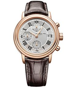 RAYMOND WEIL Watch, Men's Swiss Automatic Chronograph Maestro Brown Leather Strap 7737-PC5-00659